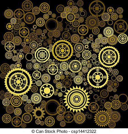 Vector Clip Art of clockwork background.