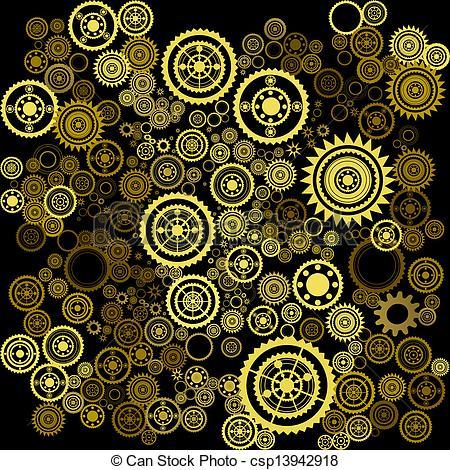 Vector Clip Art of abstract clockwork background.