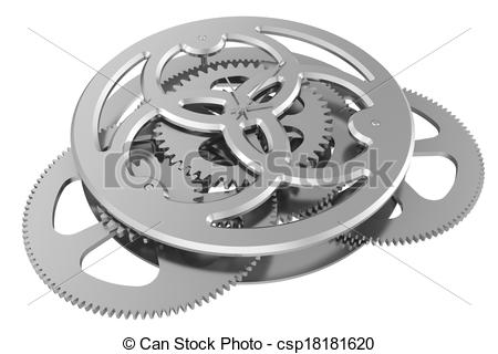 Clip Art of clock mechanism isolated on white background. 3d.
