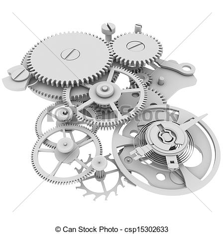 Drawings of Clock mechanism. Isolated render on a white background.