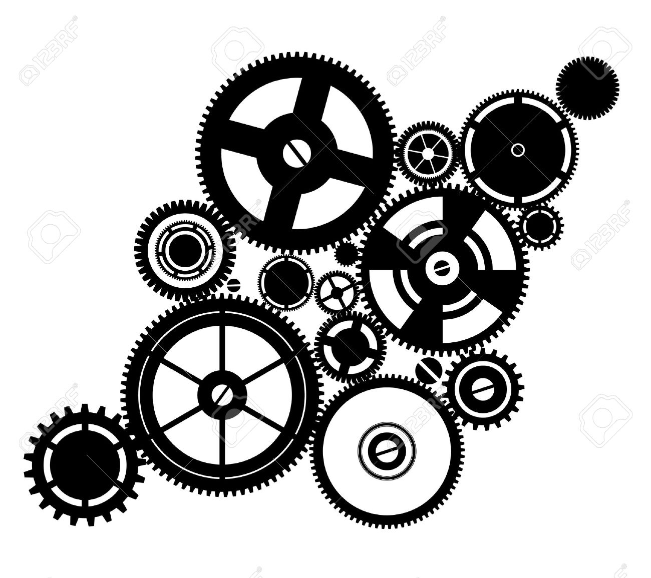 Silhouette Clockwork Royalty Free Cliparts, Vectors, And Stock.