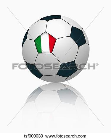 Clipart of Italian flag on football, close up tsf000030.