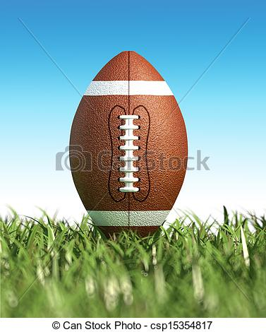 Clipart of American football ball, on the grass. Close up.