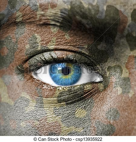 Clip Art of Extreme close up of soldiers eye csp13935922.