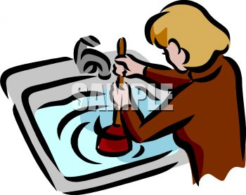 Woman Using a Plunger on a Clogged Sink.