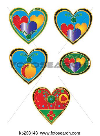 Clipart of Cloisonne hearts illustration set. k5233143.