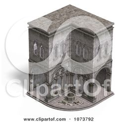Avenue Clipart of a 3d Medieval Cloister Building Exterior.