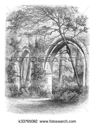 Clip Art of Cloister of the Abbey of Vaux Cernay, France vintage.