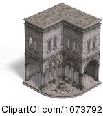 Clipart 3d Medieval Cloister Building 1.