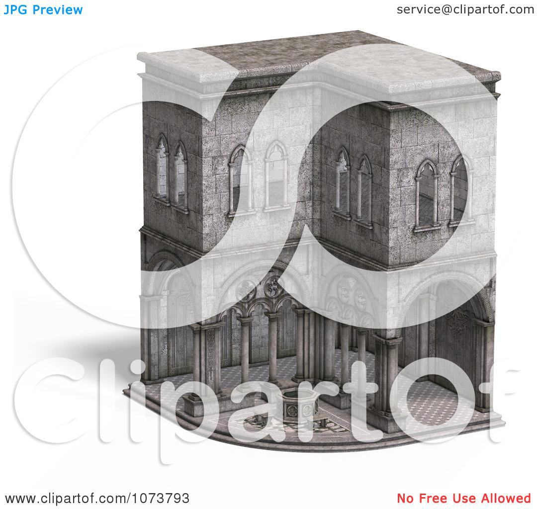 Clipart 3d Medieval Cloister Building 4.