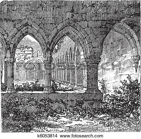 Clipart of Gothic cloisters and arch at Kilconnel Abbey, in County.