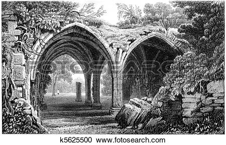 Stock Illustrations of Runed Cloisters of Margam Abbey k5625500.