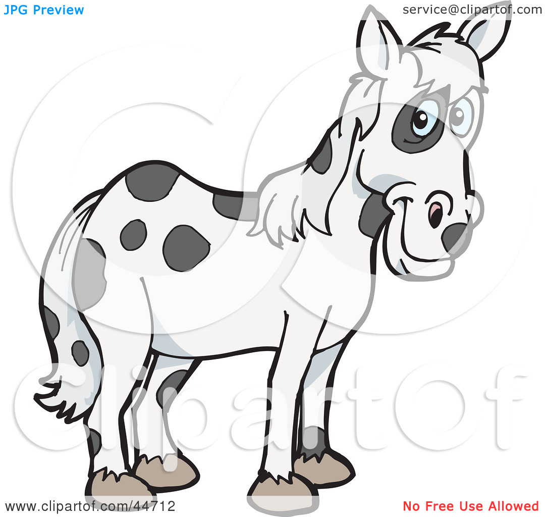 Clipart Illustration of a Spotted Cloned Horse With A Dalmatian.
