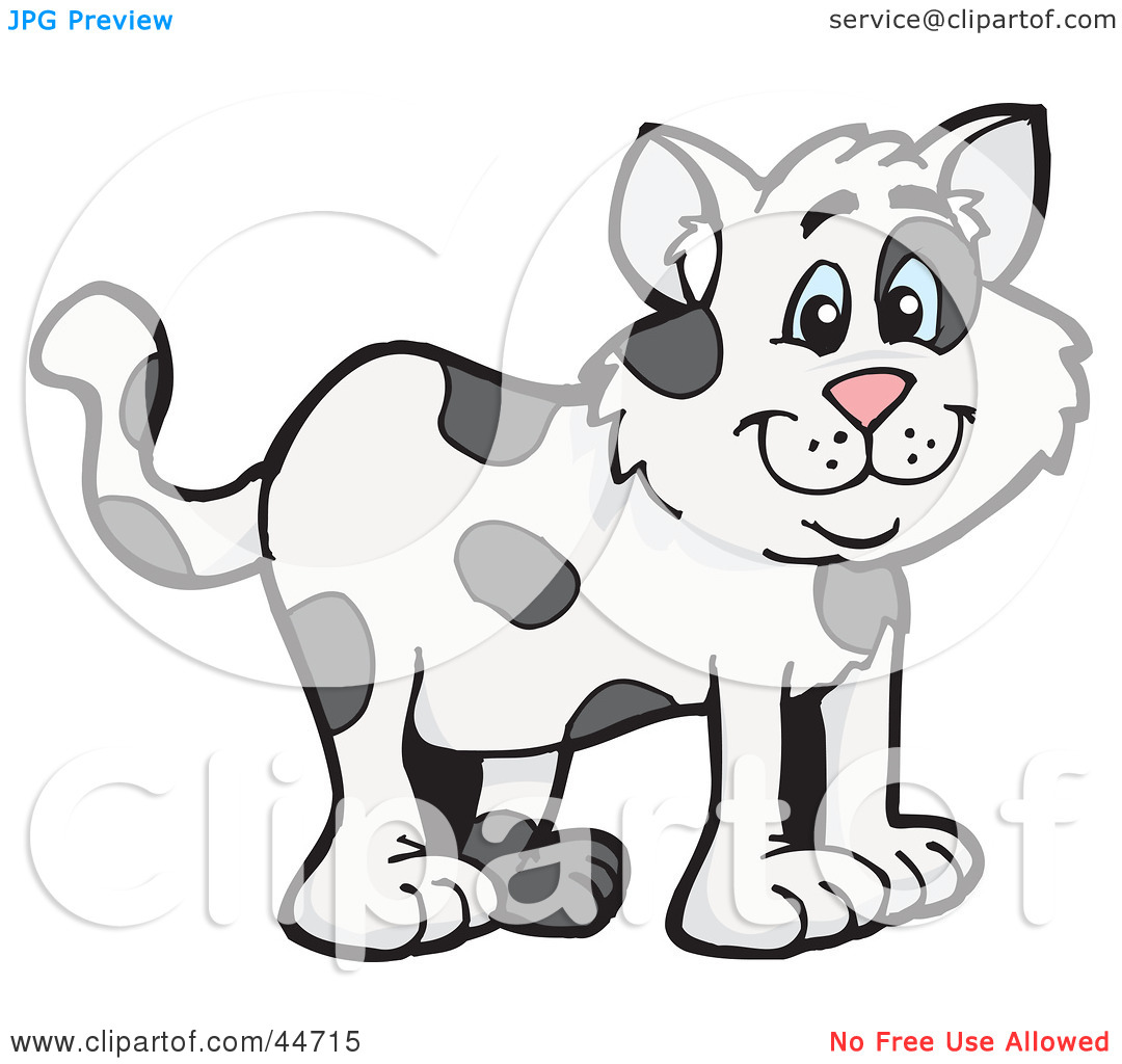 Clipart Illustration of a Spotted Cloned Cat With A Dalmatian Coat.