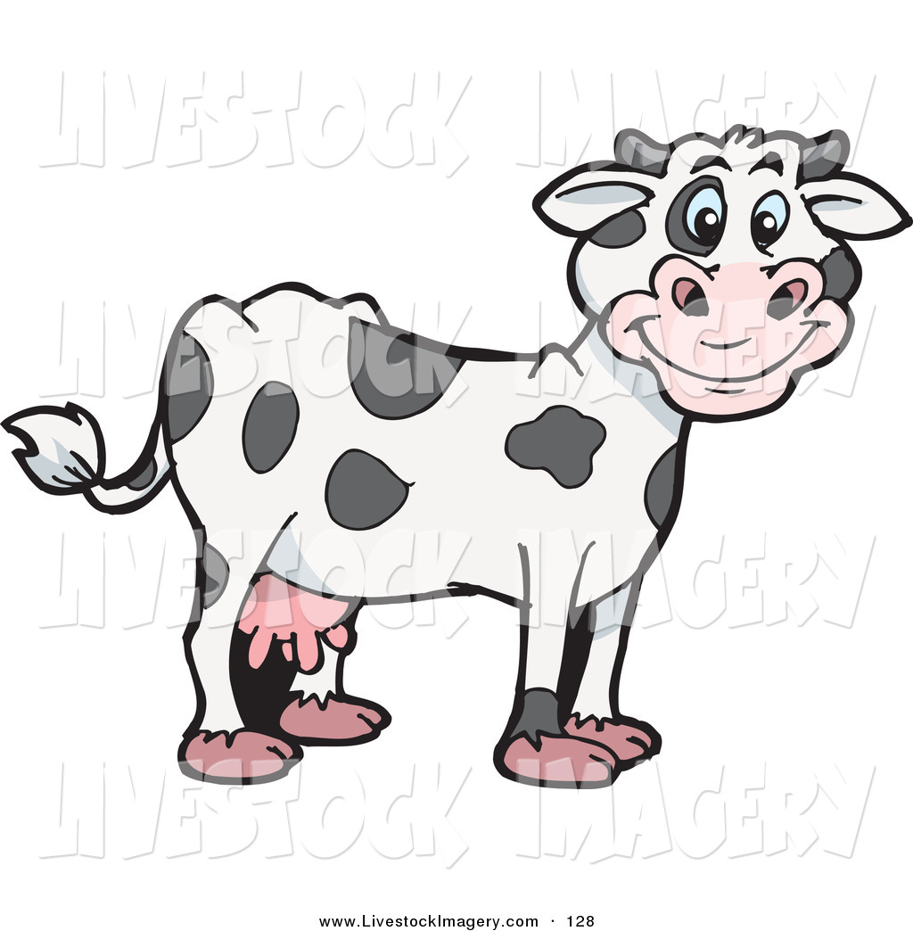 Clip Art of a Spotted Cloned Dairy Cow with a Dalmatian Coat.