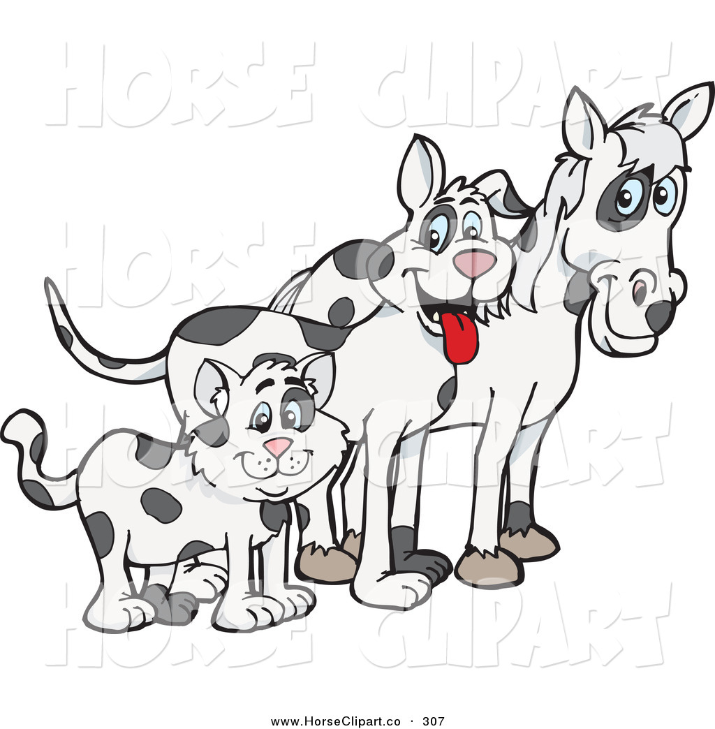 Clip Art of a Cloned Matching Cat, Dog and Horse Looking Right by.