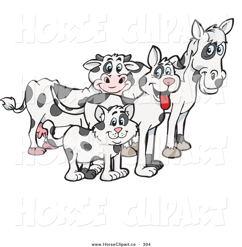 Clip Art of a Cloned Matching Cat, Dog, Horse and Cow and Looking.