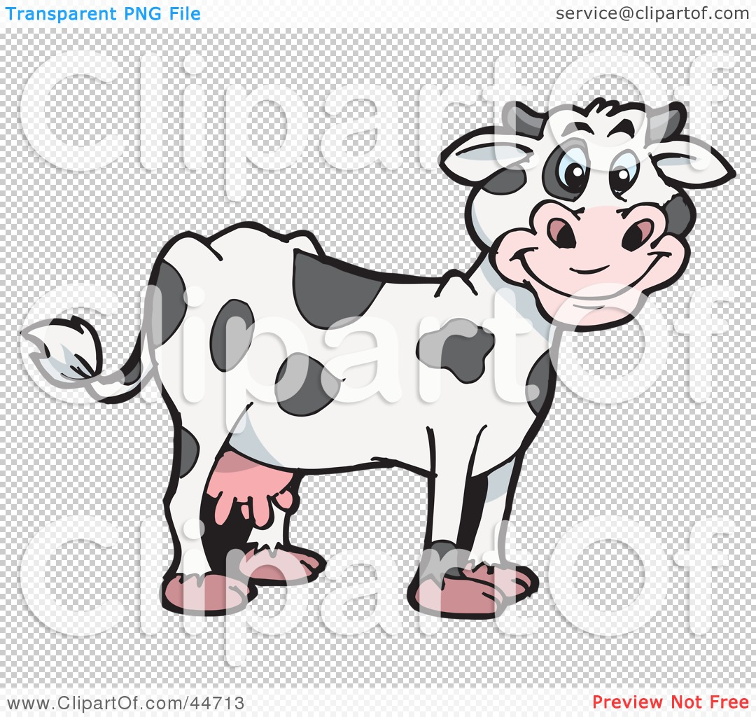 Clipart Illustration of a Spotted Cloned Dairy Cow With A.