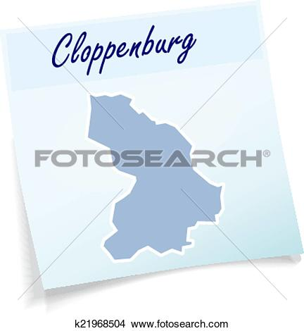 Clipart of Map of Cloppenburg as sticky note k21968504.