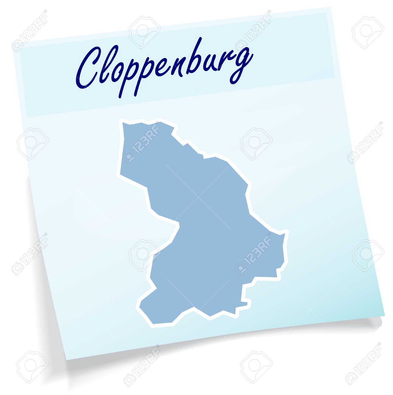 Map Of Cloppenburg As Sticky Note In Blue Royalty Free Cliparts.