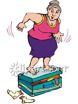 Fat Woman Jumping On Her Overfilled Suitcase Trying to Get It.