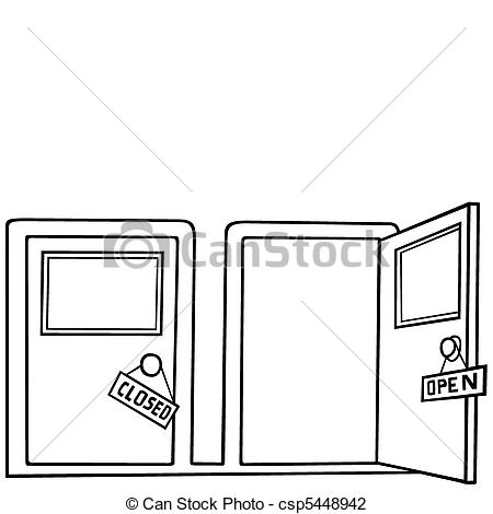 Vector Illustration of Door Open and Close.
