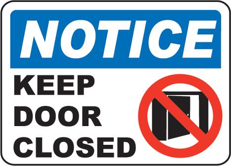 Image of Closed Door Clipart #7304, Closed Sign On Door Notice.