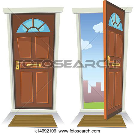 Clip Art of Doors, Closed And Open k13281637.