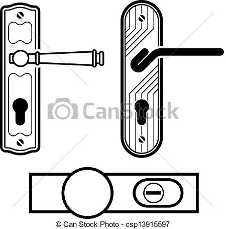 EPS Vectors of vector door handle black icons csp13915597.