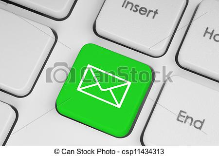 Clipart of Mail keyboard button on the keyboard close.