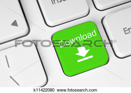 Stock Illustrations of Green download keyboard button close.
