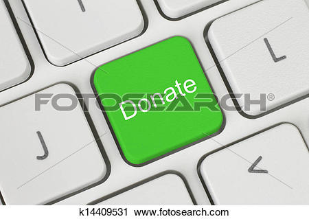 Clipart of Green donate button on the keyboard close.
