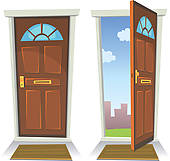 Open And Shut Door Clipart.
