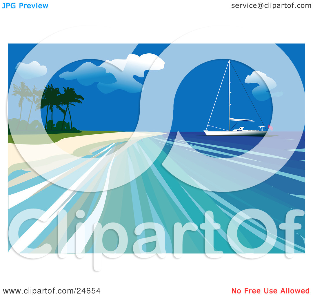 Clipart Illustration of a Yacht Out On Calm Blue Water Close To.