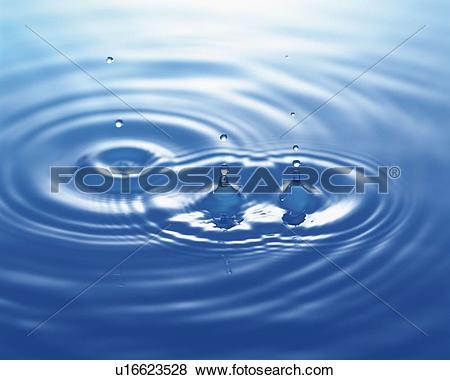 Pictures of Multiple Ripples of Water, Close Up, High Angle View.