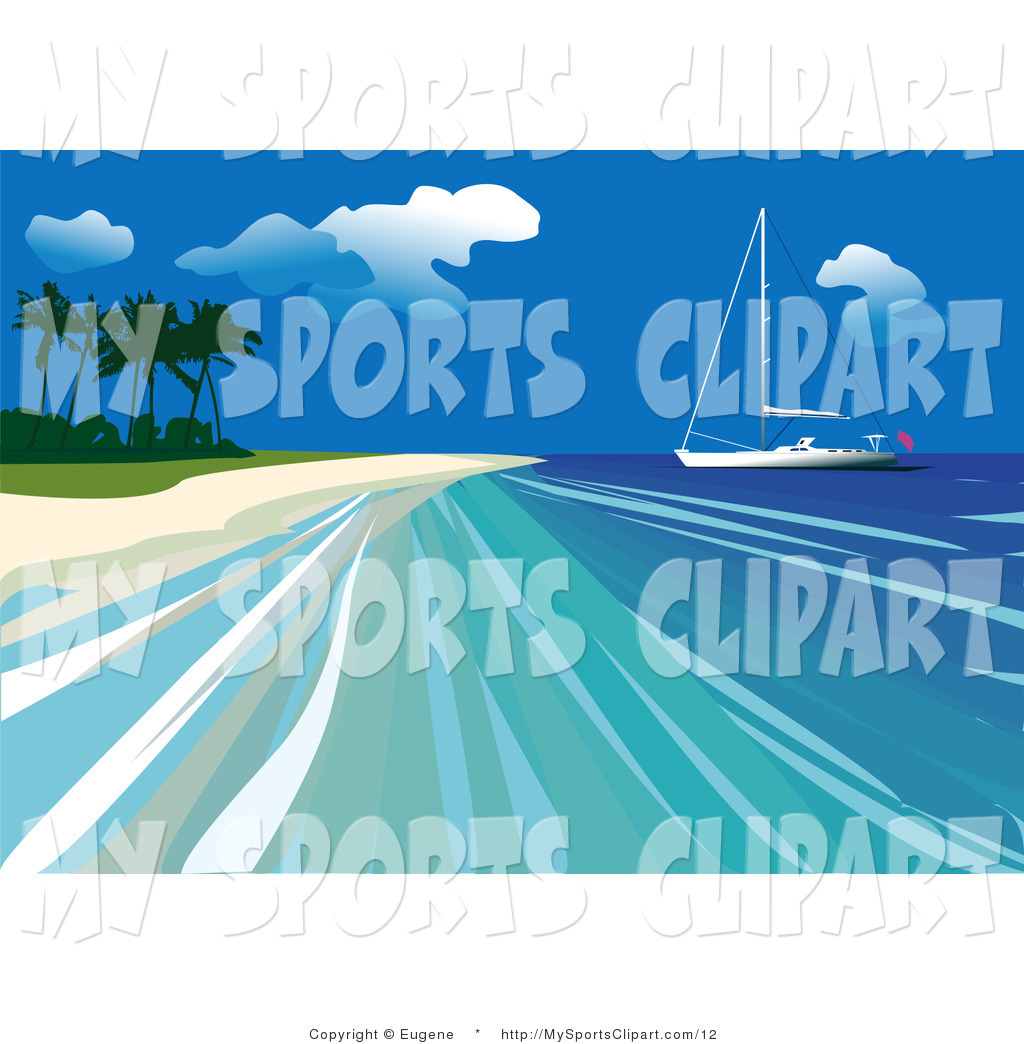 Sports Clip Art of a Yacht out on Calm Blue Ocean Water Close a.