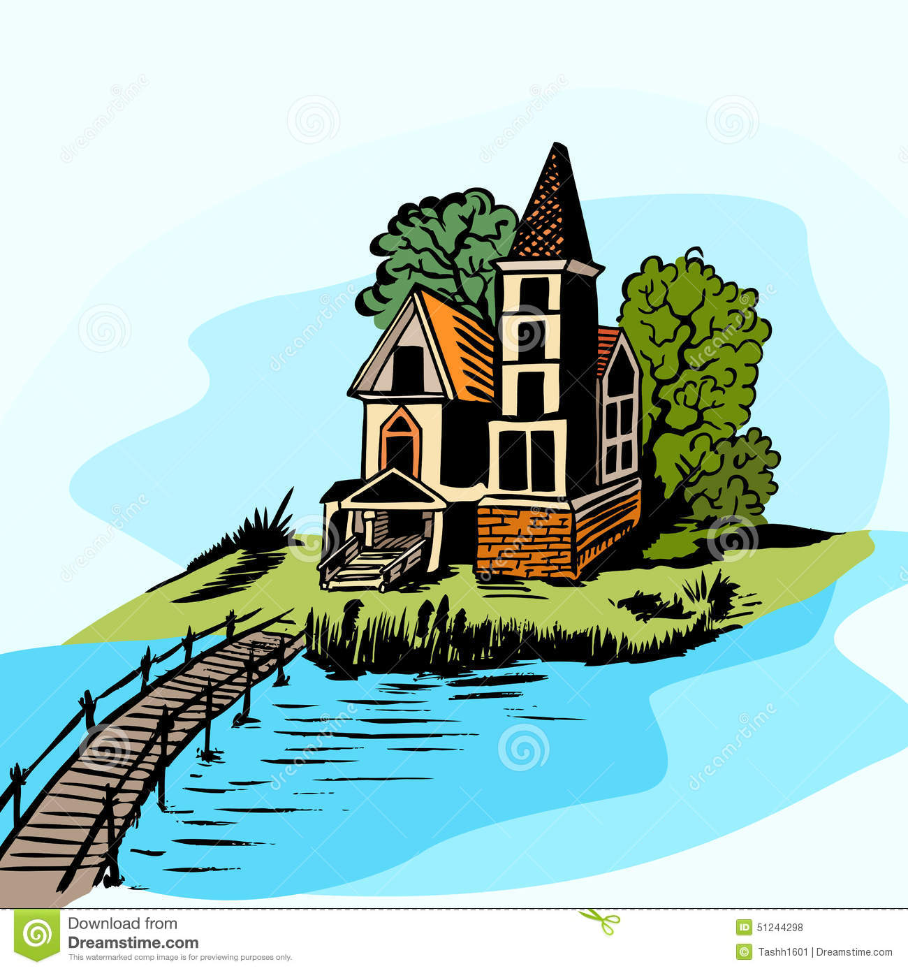 House Near The Water Stock Vector.