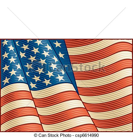 Vector Clipart of Vintage American Flag (close up).