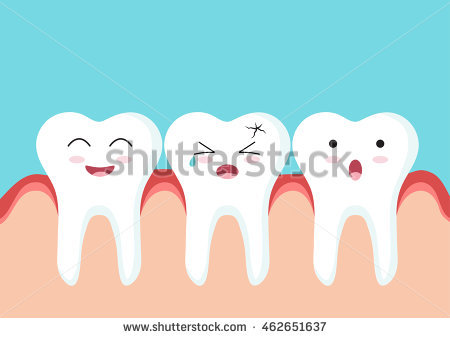 Cute Cartoon Clip Art Close Teeth Stock Vector 463624259.