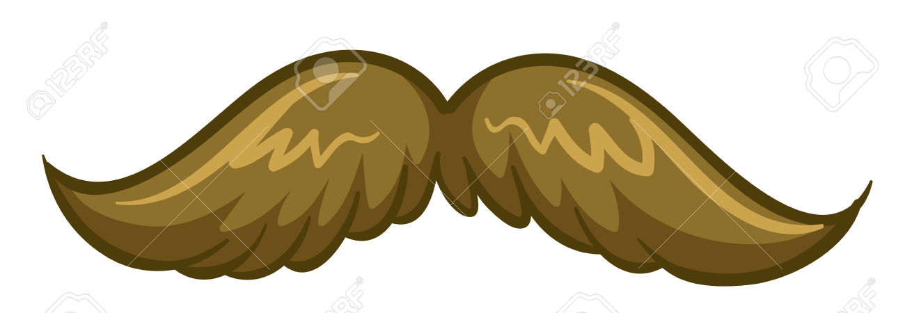 Close Up Brown Mustache In Perfect Form Royalty Free Cliparts.