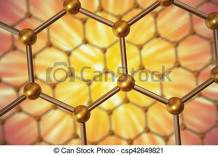 Clip Art of 3d rendering nanotechnology hexagonal geometric form.