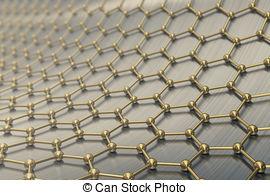Drawing of 3d rendering gold nanotechnology hexagonal geometric.