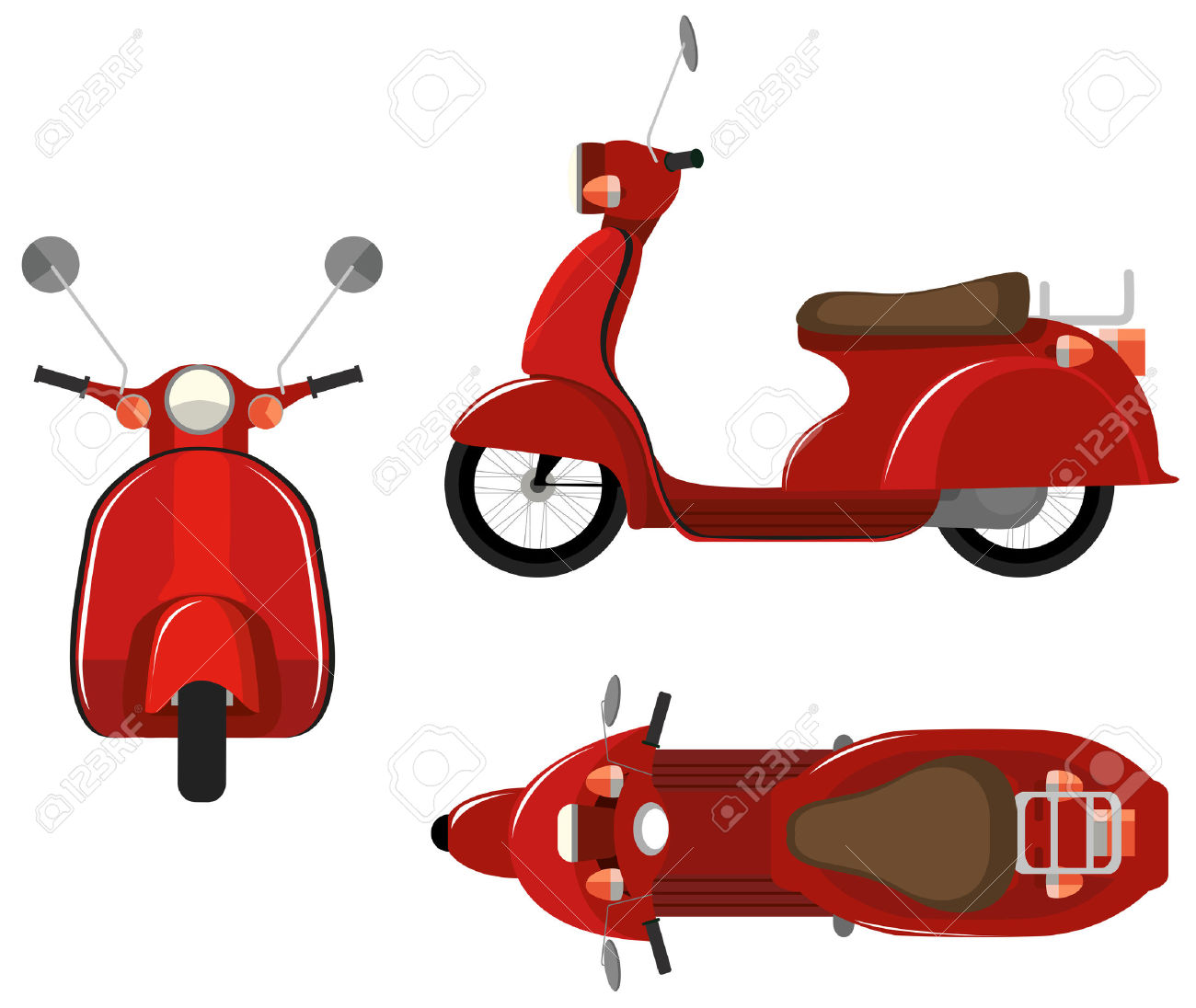 Illustration Of A Close Up Scooter With Different View Point.