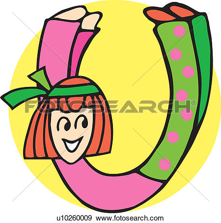 Stock Illustration of Close up view of girl forming alphabet U.
