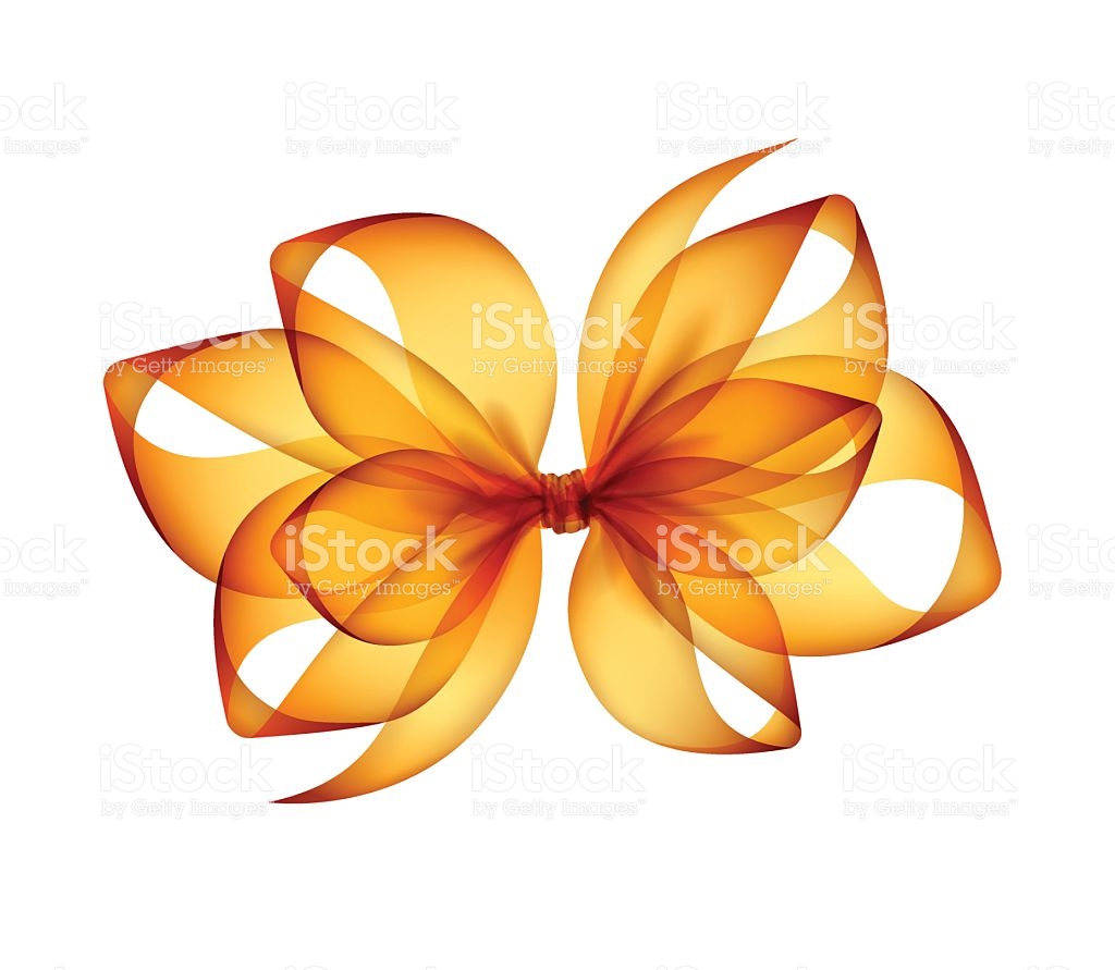 Orange Yellow Transparent Bow Top View Close Up stock vector art.
