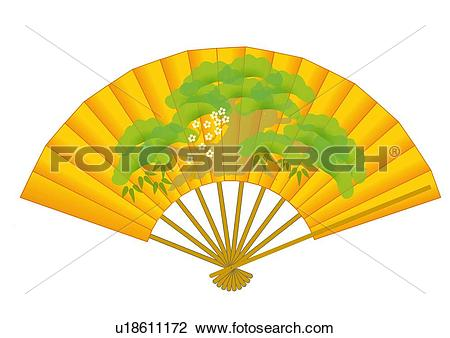Clip Art of Close up of Japanese folding fan spreading out, front.
