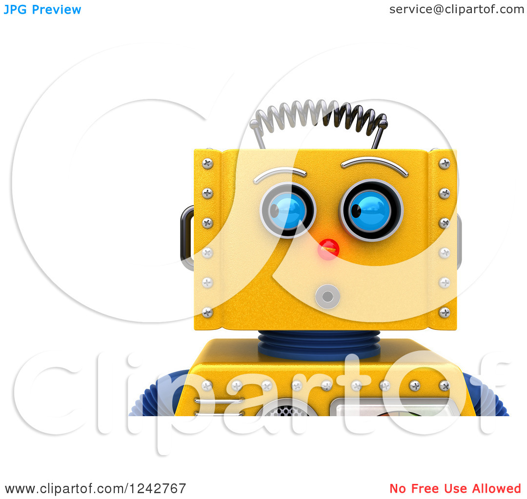 Clipart of a 3d Closeup Face View of a Surprised Yellow Retro.