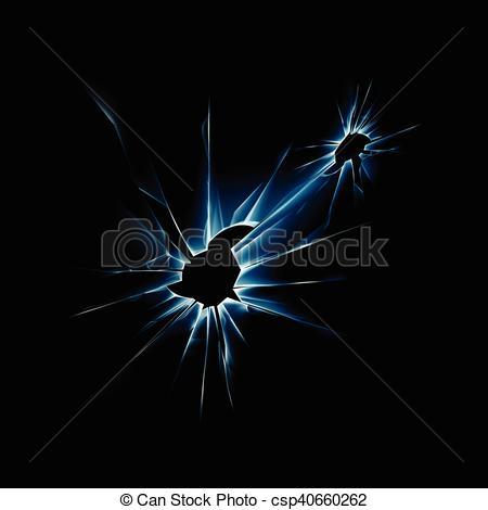 Clip Art Vector of Vector Blue Broken Shattered Crack Glass Window.