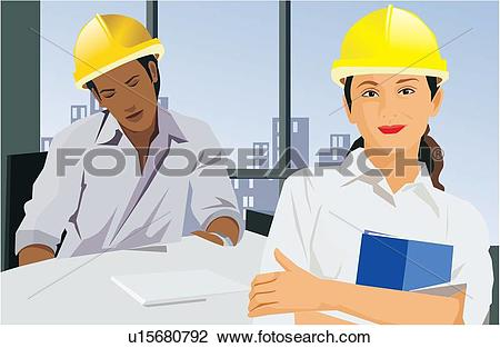 Clip Art of Close up view of two architects u15680792.
