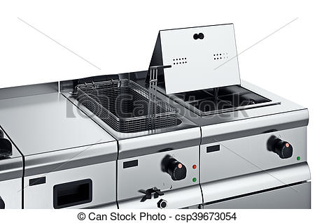 Stock Illustrations of Kitchen equipment fryer, close view.